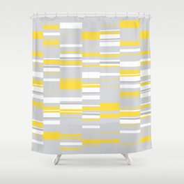 Mosaic Rectangles in Yellow Gray White #design #society6 #artprints Shower Curtain