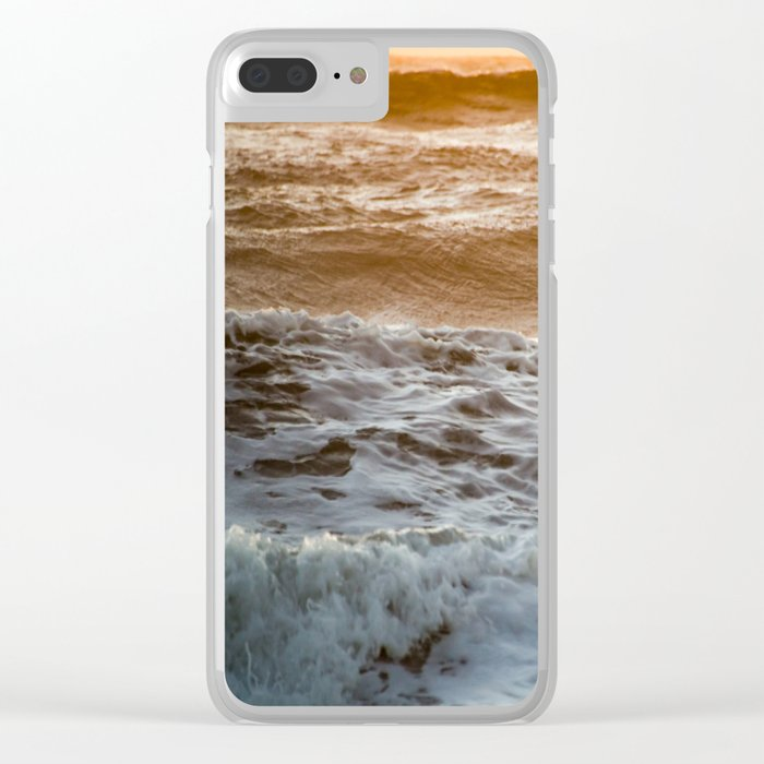 Coral Ocean Sunset Clear iPhone Case