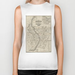 Vintage Map of Rochester NY (1872) Biker Tank