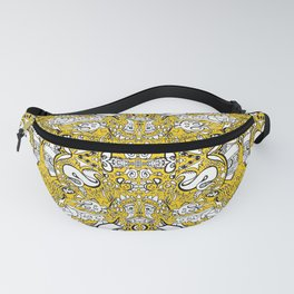 city banner, doodle monster ribbons mustard yellow Fanny Pack