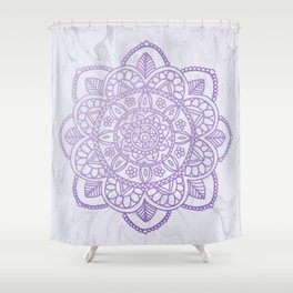 Lavender Mandala on White Marble Shower Curtain