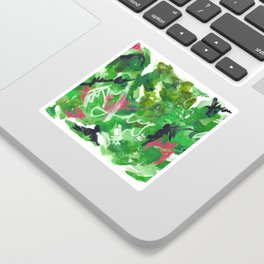 Green Abstract Mixed-Media: Nature Sticker