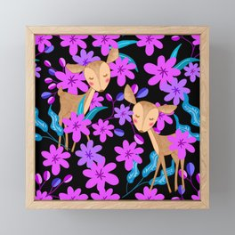 Cute little baby deer fawns lost in the forest of delicate pink flowers illustration. Animals. Framed Mini Art Print