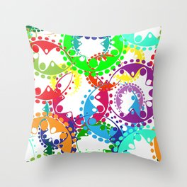 Texture of bright colorful gears and laurel wreaths in kaleidoscopic style. Throw Pillow