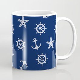 Navy Blue Nautical Pattern Coffee Mug