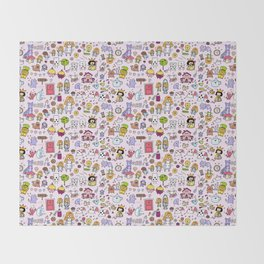 Alice in Doodleland Throw Blanket