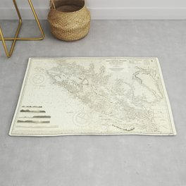Vintage Map Print - Admiralty Chart No 1917 Vancouver Island & Shores of British Columbia, 1865 Rug