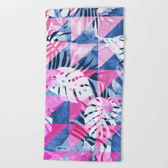 Abstract Hot Pink Geometric Tropical Design Beach Towel