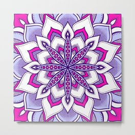 Fuchsia Lavender Flower Mandala Metal Print