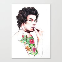 harry styles Canvas Prints featuring Harry Styles by dariemkova