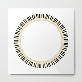 Pianom Keys Circle Metal Print