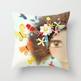 Doll Butterfly Balloons Afro Hair Flowers Throw Pillow