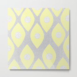 Eye Pattern Yellow Metal Print