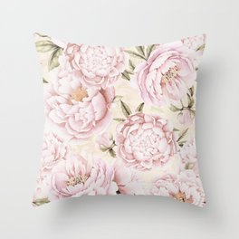 Pastel Blush Pink Spring Watercolor Peony Flowers Pattern Throw Pillow