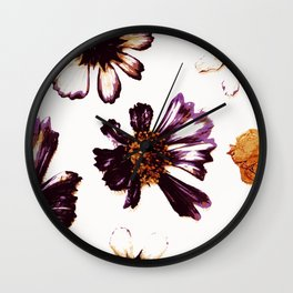 Pressed Autumn Flowers Wall Clock