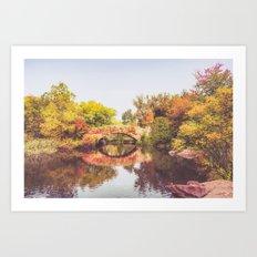 New York City Autumn Bridge Art Print