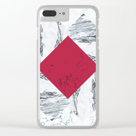 Red + Marble Clear iPhone Case