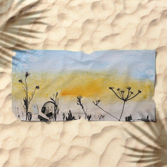 Summer sunrise in watercolor Beach Towel