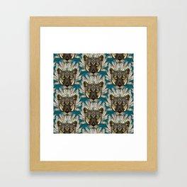 native mountain lion blue Framed Art Print