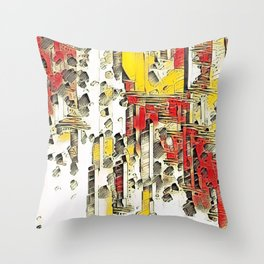 cartoon chaos Throw Pillow