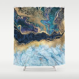 Peacock Blue, Purple, Gold Marble Abstract Art  Shower Curtain