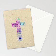 Pink Purple Aztec Pattern Cross Watercolor Paint Stationery Cards