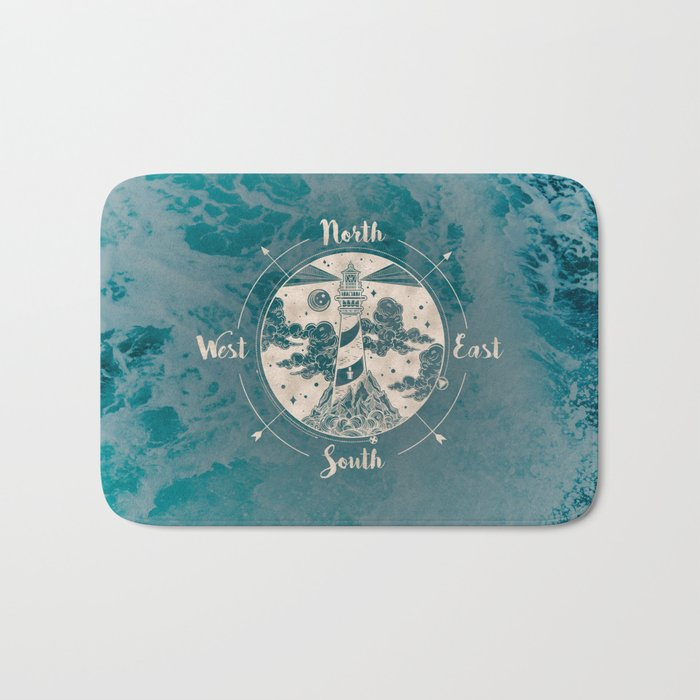 Lighthouse Compass Ocean Waves Gold Bath Mat