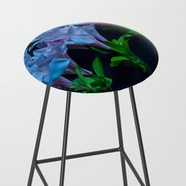 pink and blue flowers on black Bar Stool
