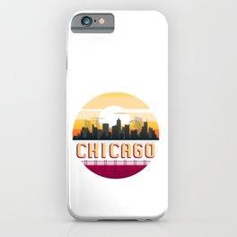 Chicago Vintage Sunset Skyline Retro Aestheic Style design iPhone Case