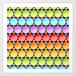 Rainbow Dotty Stripes Art Print