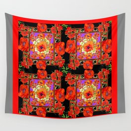 GREY & BLACK ART RED DECO ORANGE-RED POPPIES Wall Tapestry
