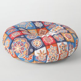 Vintage patchwork with floral mandala elements Floor Pillow