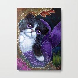 LOVELY TUXEDO PERSIAN MERMAID CAT BY THE REEF Metal Print