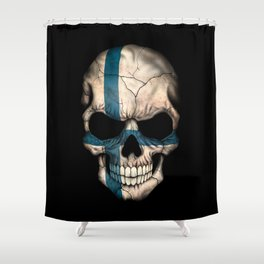 Dark Skull with Flag of Finland Shower Curtain