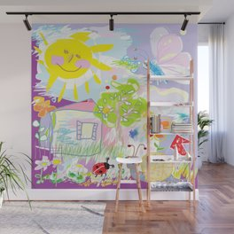 My happy world Doodle for children room Nursery home decor Wall Mural