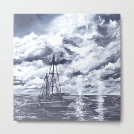 Sail Boat oil painting black and white Metal Print