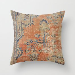 Vintage Woven Navy and Orange Throw Pillow