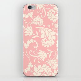 Vintage pink ivory chic floral damask pattern iPhone Skin