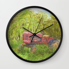 Old Massey Harris 55 tractor in rural France Wall Clock
