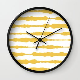 Macrame Stripes in Mustard Yellow and White Wall Clock