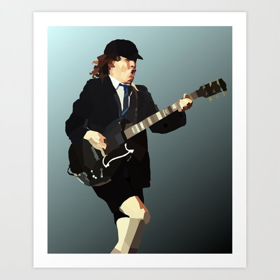 Low Polygon Portrait of Angus Young Art Print