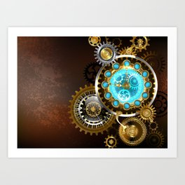 Unusual Clock with Gears ( Steampunk ) Art Print