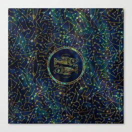 Pisces Zodiac Gold Abalone on Constellation Canvas Print