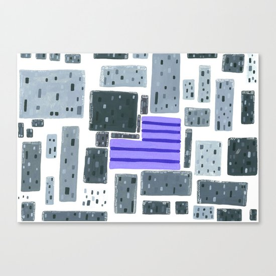 Derelict City, Lavender Field Canvas Print