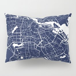 Amsterdam Navy Blue on White Street Map Pillow Sham