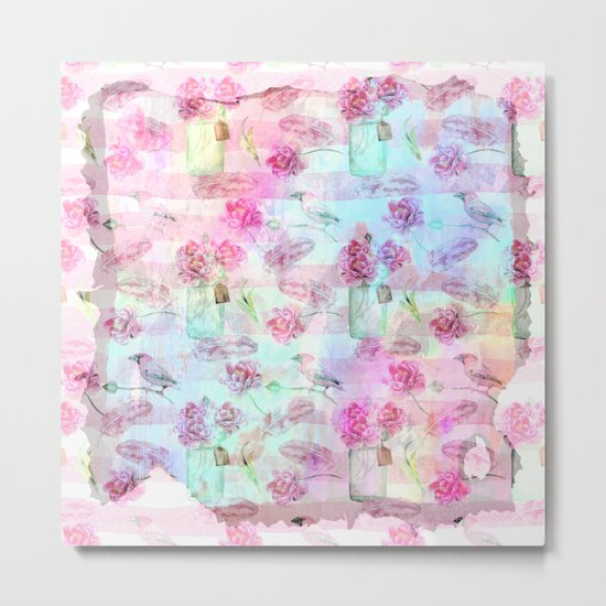 Summer pattern - Floral Flowers in pink on #Society6 Metal Print
