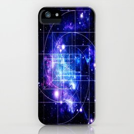 Galaxy sacred geometry Golden Mean Deep Blue iPhone Case