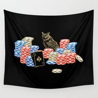 poker Wall Tapestries featuring Poker Owl by October's Very Own