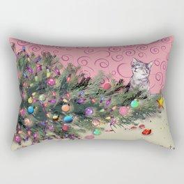 Cat knocked over the Christmas tree Rectangular Pillow
