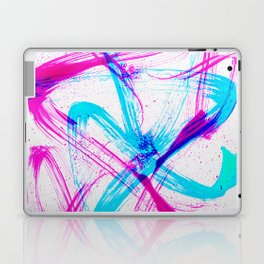 Expressive Brushstrokes of Hot Pink and Electric Cyan Laptop & iPad Skin